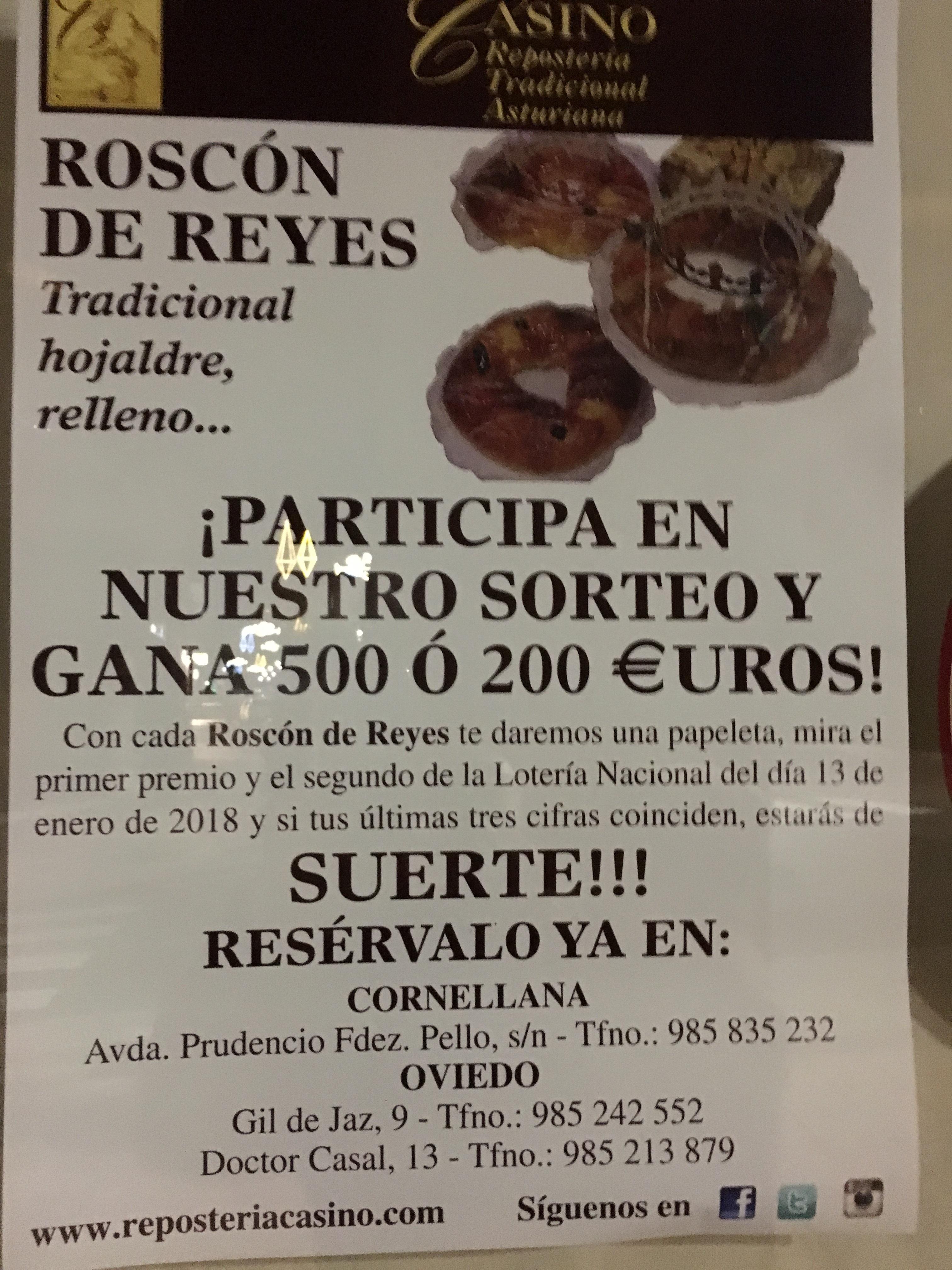 Premios de 500 y 200 euros con nuestros Roscones